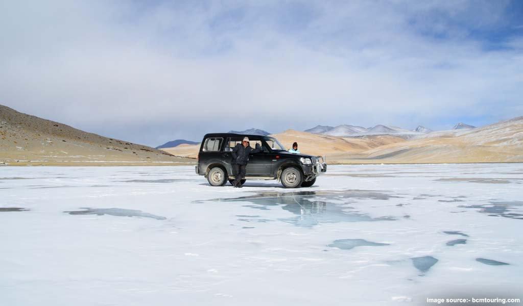 Frozen Tsomoriri Lake, Ladakh